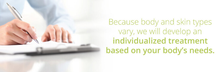 Because body and skin types vary, we will develop an individualized treatment based on your body's needs